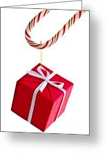Christmas Candy Cane And Present Greeting Card by Elena Elisseeva
