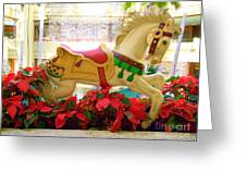 Christmas Carousel Horse With Poinsettias Greeting Card