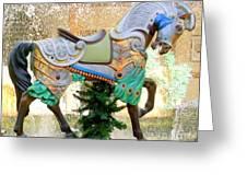 Christmas Carousel Warrior Horse-1 Greeting Card