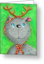 Christmas Cat Greeting Card by Sonja Mengkowski