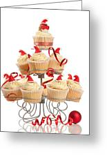 Christmas Cupcakes On Stand Greeting Card
