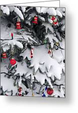 Christmas Decorations On Snowy Tree Greeting Card