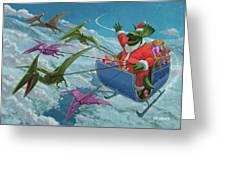 Christmas Dinosaur Santa Ride Greeting Card by Martin Davey