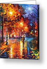 Christmas Emotions - Palette Knife Oil Painting On Canvas By Leonid Afremov Greeting Card