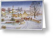 Christmas Eve In The Village  Greeting Card