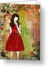 Christmas Eve Mixed Media Folk Artwork Of Young Girl Greeting Card