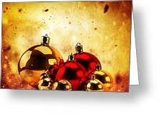 Christmas Glass Balls On Winter Gold Background Greeting Card