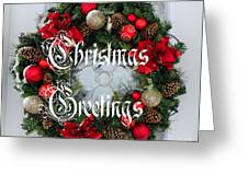 Christmas Greetings Door Wreath Greeting Card
