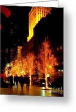 Christmas In New York - Trees And Star Greeting Card