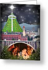 Christmas In Spokane Greeting Card by Mark Armstrong
