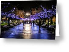 Christmas Lights In Gijon Greeting Card