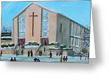 Christmas Mass At Saint Joseph's Church Greeting Card