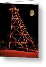 Christmas Moon Over Butte Headframe Greeting Card