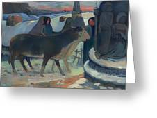 Christmas Night Blessing Of The Oxen Greeting Card
