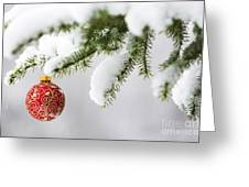 Christmas Ornament In The Snow Greeting Card