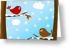 Christmas Red Cardinal Bird Pair Winter Scene Greeting Card