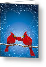 Christmas Red Cardinal Twig Snowing Heart Greeting Card