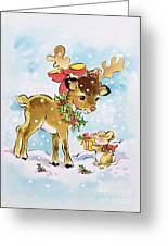 Christmas Reindeer And Rabbit Greeting Card
