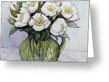 Christmas Roses Greeting Card by Gillian Lawson