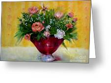 Christmas Roses In Cranberry Glass   Copyrighted Greeting Card