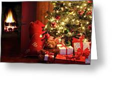 Christmas Scene With Tree And Fire In Background Greeting Card