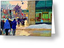 Christmas Shoppers Ogilvys Enchanted Village Window Display A Montreal Xmas Tradition Carole Spandau Greeting Card