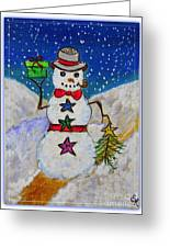 Christmas Snowman With Gifts Of Love Greeting Card