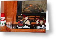 Christmas - Snowmen Collection- Fireplace Greeting Card