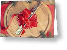 Christmas Table Setting Greeting Card by Amanda Elwell
