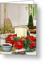 Christmas Table Greeting Card by Tom Gowanlock