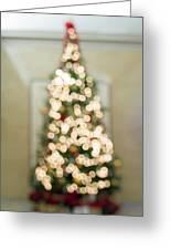 Christmas Tree Defocused With Bokeh Lights Greeting Card