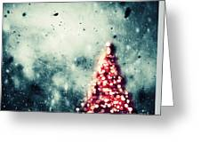 Christmas Tree Glowing On Winter Vintage Background Greeting Card