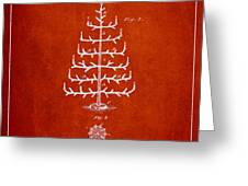 Christmas Tree Patent From 1882 - Red Greeting Card