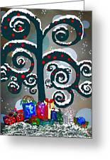 Christmas Tree Swirls And Curls Greeting Card