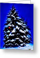 Christmas Tree With Red Ball Greeting Card
