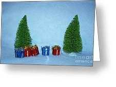 Christmas Trees With Red And Blue Presents Greeting Card