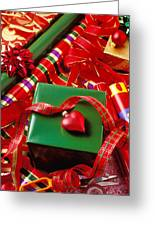 Christmas Wrap With Heart Ornament Greeting Card