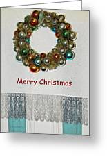Christmas Wreath And Vintage Bulbs Greeting Card