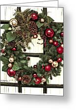 Christmas Wreath On Black Door Greeting Card