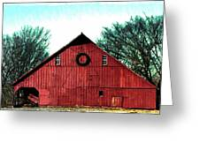 Christmas Wreath On Red Barn Greeting Card