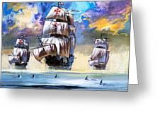 Christopher Columbus's Fleet  Greeting Card