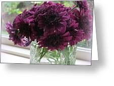 Chrysanthemums In A Glass Jar Greeting Card