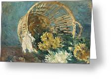 Chrysanthemums Or The Overturned Basket Greeting Card