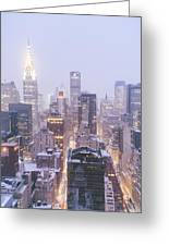 Chrysler Building And Skyscrapers Covered In Snow - New York City Greeting Card
