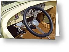 Chrysler Interior Steering Wheel Classic Car American Made Greeting Card