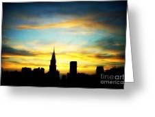Chrysler Skyline With Incredible Sunset Greeting Card