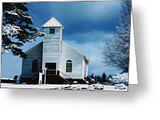 Chuch In The Snow Greeting Card