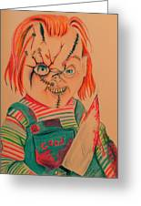 Chucky's Back Greeting Card by Denisse Del Mar Guevara