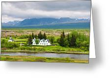 Church And Buildings National Park Pingvellir Iceland Greeting Card