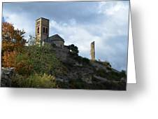 Church And Castle In Puente De Montanana  Greeting Card